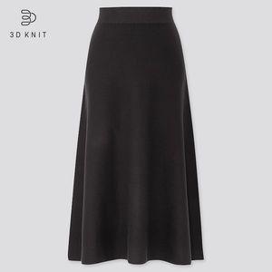 Uniqlo *Navy Blue* 3D Cotton Flare Midi Skirt